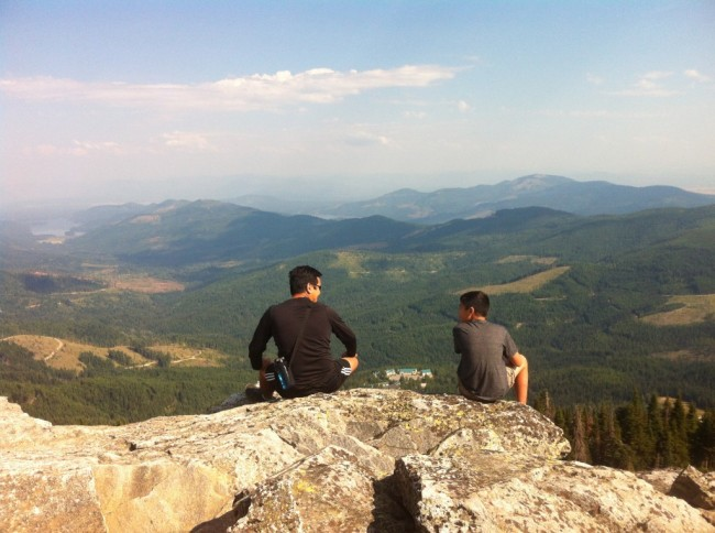 Don and Gabe on peak of Mt. Spokane