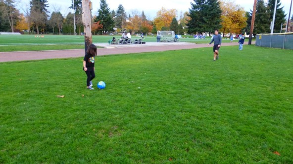 Don and Jadyn practicing soccer skills