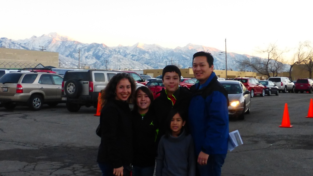 After Christmas Eve service with mountain backdrop