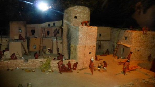 A diorama of building the cliff dwellings